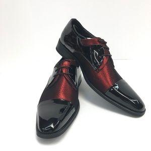 63215ab7ce4d Amali Men's Red Black Fishnet Tuxedo Dress Shoe